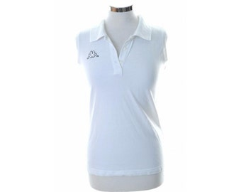 Kappa Womens Polo Shirt Sleeveless Large White Cotton