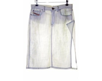 Diesel Womens A-Line Skirt W27 L21 White Cotton