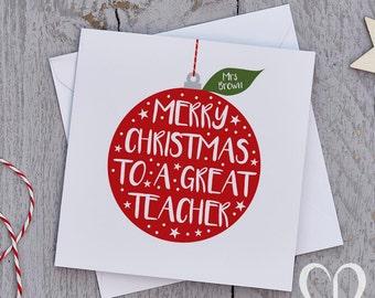 Teacher Christmas Card – Bauble, Teacher Christmas Cards, Teaching Assistant Christmas Card, TA Christmas Card, Teacher Xmas Cards