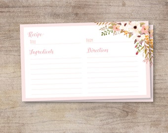Floral Recipe Card - Set of 10, 15, 20, 25, 30, or 50 count Linen Cardstock