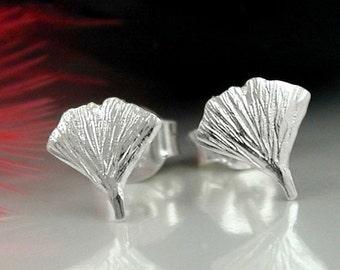 Delicate Ginkgo Leaf Studs, silver 925