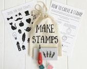 craft kit - diy craft kit - rubber stamp - stamp carving - craft kits -  diy rubber stamp