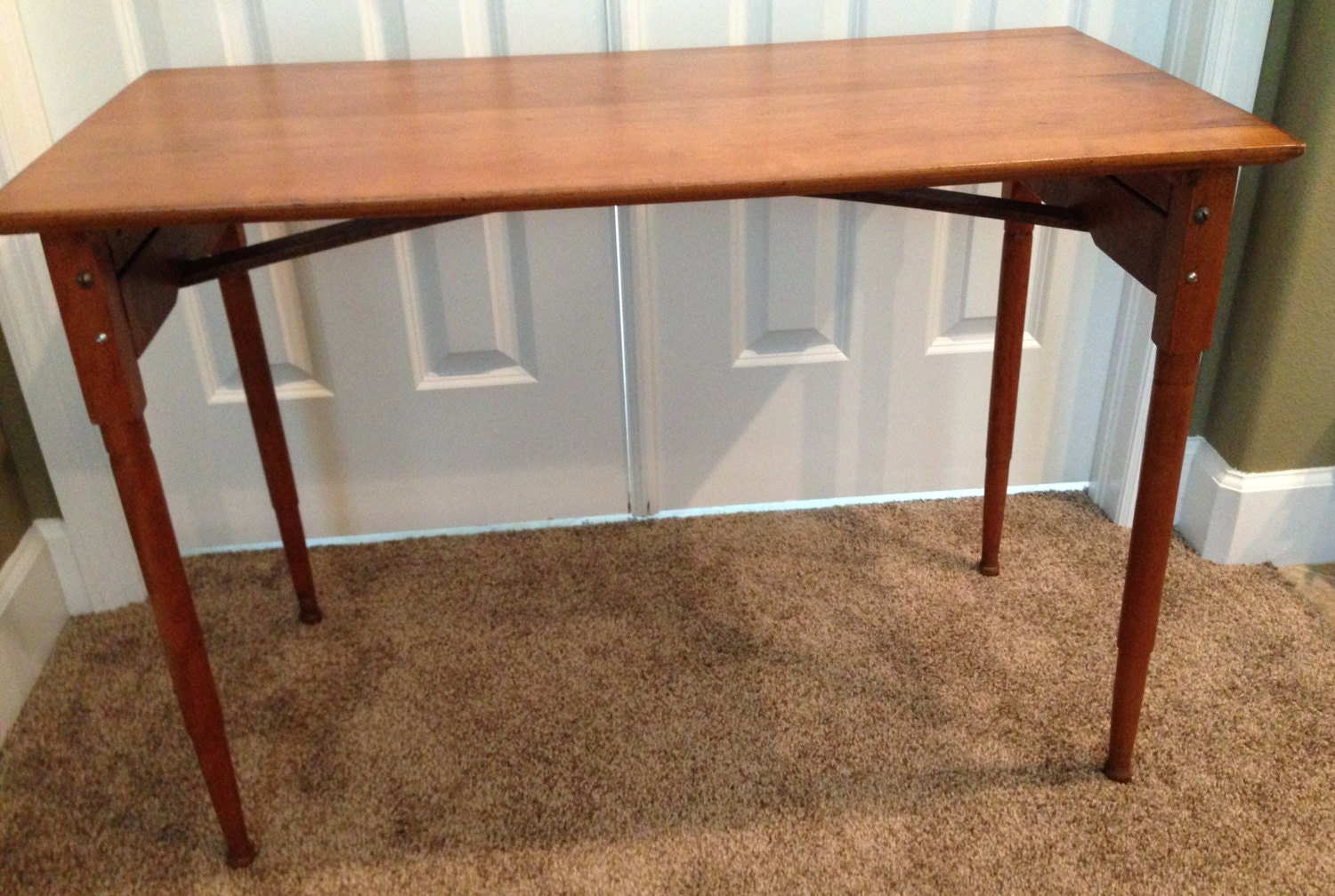 Old Wooden Table ~ Antique wooden table s folding field sewing
