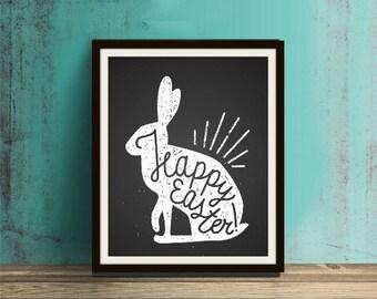 Happy Easter - Easter, Easter Print, Easter Art, Easter Decor, Easter Home Decor, Calligraphy, Easter Calligraphy, Spring, Rabbit, Bunny
