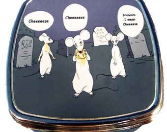 Zombie Rats Compact Mirror, White Rats Walking Through Graveyard, Undead Mice, Lab Rats
