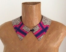 Collar, Peter pan, detachable button and loop, African print fabric, Dutch wax fabric, mod, hipster, neckwear, one size fits most
