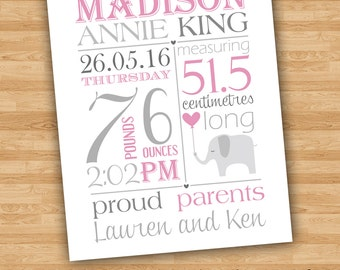 Personalised Baby Birth Statistics Nursery Wall Art You Print File