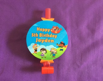 12 Personalized Little Einsteins Party Blowouts, Party Blowers, Party Favors