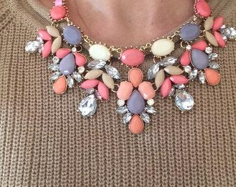 Beautiful pink bib necklace! Lovely