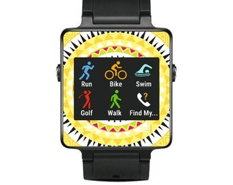 Skin Decal Wrap for Garmin Vivoactive Forerunner Watch cover sticker Yellow Aztec