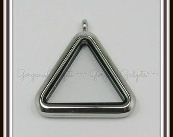 Floating Locket / Glass Locket / Memory Locket Pendant Stainless Steel Triangle
