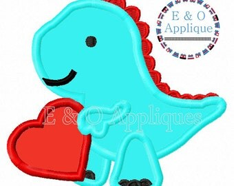 Valentine's Day Applique Design - Heart Applique Design - Dinosaur Applique Design - Heart Embroidery Design - Valentine's Day Embroidery