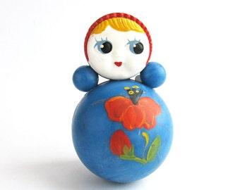 Roly Poly Doll, 10.5 cm, Nevalyashka, Cute Toy, Soviet vintage plastic toy, Souvenir, Nursery Decor, Made in USSR, 1980s