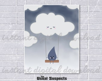 Rain Drop on a Swing, Raincloud, Cute Weather, Kawaii Cloud, Wall Art, Wall Decoration, Adorable Cloud, Sweet Little Cloud, Rain Cloud