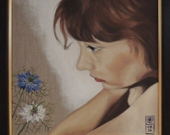 You Confuse Me. An original framed oil painting, of a girl with Forget-me-nots, on stretched linen by Mel Evans. 45cm x 45cm.