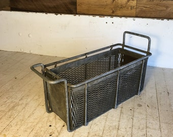 "Vintage industrial wire dipping baskets 15"" x 6"" x 6.5"" perfect for herbs and garden"
