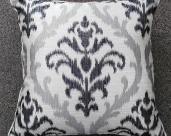 """Custom Maded Decorative Throw Pillow """"Silver Flower II"""", 7 Sizes Available, Throw Zipper Pillow"""
