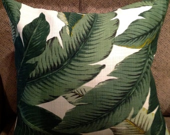 """12"""" X 18"""" Outdoor/Indoor Tommy Bahama Swaying Palms Green and Ivory  Pillow Cover"""