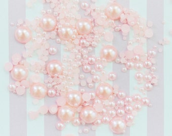 2mm-10mm  Mixed Sizes Pastel Pink Half Pearl Flatback Decoden Cabochons - 200 piece set