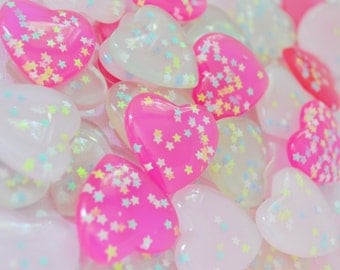 26mm Big Kawaii Pastel Pink Heart Decoden Cabochons - 6 piece set