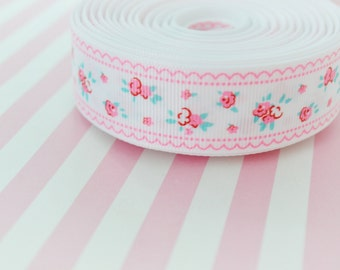 5 yds White Grosgrain Ribbon With Pink Flowers