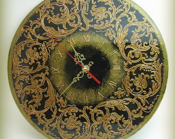 Baroque Floral Patterns Wall Clock Hand Painting Home Decor