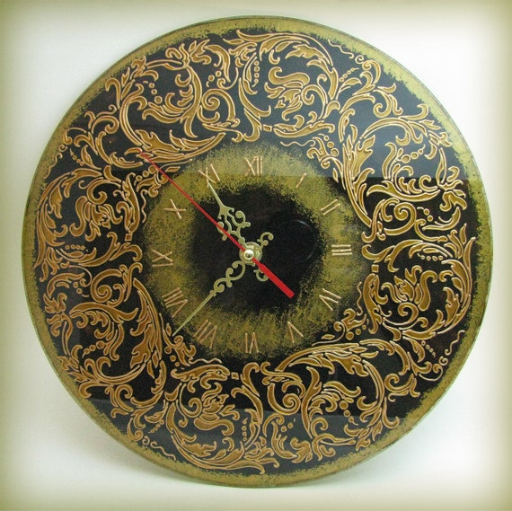 Baroque floral patterns wall clock hand painting home decor for Baroque home accessories
