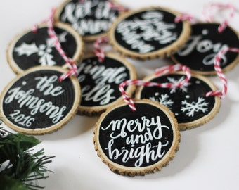 Set of 6 assorted ornaments, hand lettered and illustrated christmas ornaments, assorted christmas tree ornaments