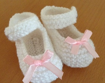 Hand Knitted White Mary Jane Style Baby Booties