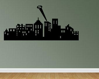 Superhero City Skyline Wall Decals Children Wall Decals Boy Bedroom Decor Superhero Silhouette (JR606)