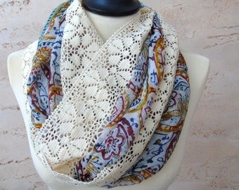 Infinity Scarfs - Infinity Loop Scarf Woman - Boho Scarf Infinity - Chunky Scarf Infinity - Infinity Scarf - Lace Scarf
