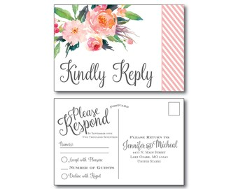 Rustic Wedding RSVP Postcard - Country Chic - Watercolor Floral - Floral Wedding - Rustic Wedding - RSVP Postcard - Wedding Postcard - RSVP