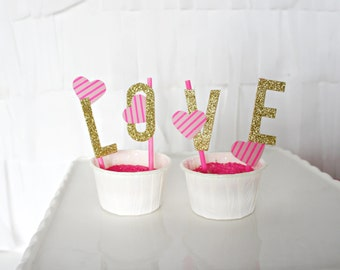 Text Cake Topper - LOVE