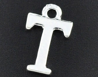 8 Letter T Charms Silver Plated 15x10mm
