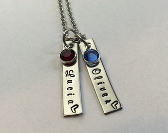 Personalized Name Necklace-Hand Stamped Stainless Steel-Swarovski Birthstone-Gift For Mom-Mommy-Mother-Mother's Day Necklace-Mom Jewelry