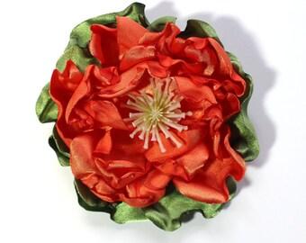Flower Pin, Orange, Satin Fabric Flower, Corsage, Flower Accessory