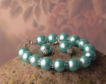 Blue Pearl Bracelet Glass Pearl Bracelet Earrings Set Bridesmaid Bracelet Wedding Bracelet Pearl Jewelry Handmade Bracelet Womens Bracelet