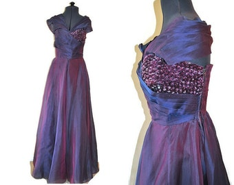 1950's Purple Dress by Ricci Michaels of Mayfair. Beautiful Vintage Evening Dress with Beading and Organza. Size Small. Waist 26""