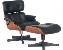 DOLLHOUSE MINIATURE 1956 Eames Lounge Chair With Ottoman #S8000-S8002-S8017-S8021-S8022-S8025