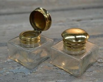Pair of antique style handmade glass and brass inkwells replacement inkwell for writing box slope inkwell ink
