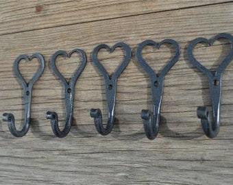 5 small wrought iron Shaker heart hooks folk art wall hanger door hook GHH1