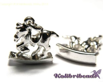 2x Rocking Horse Charm 15 mm - Silver plated
