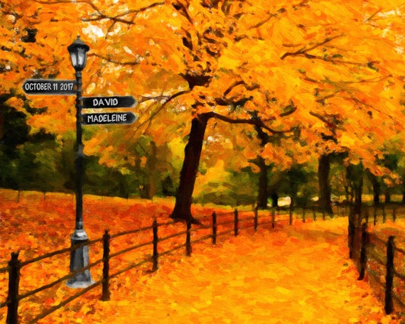 Personalized Wedding Gift New York City Fall Central Park Autumn Fall ...