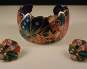 Reserved - Vintage 1980s David Kuo Champleve Enamel Multi Colored Abstract Butterfly Flower Cuff Bracelet Pierced Earrings Demi Parure