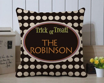 trick or treat pillow cover personalized halloween gift halloween decor halloween decorations - Personalized Halloween Decorations