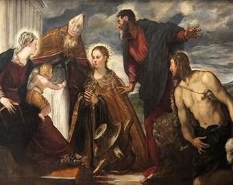 Tintoretto: Virgin and Child, with Saint Catherine, Saint Augustin, Saint Marc and Saint John the Baptist. Fine Art Print/Poster. (001993)