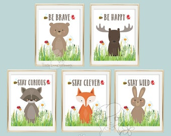 Forest wall decor woodland friends Nursery wall art print Wall art Decor nursery decoration quotes printable woodland animal print 146