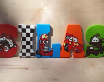 Cars Themed Letters - Checkered Flag Nursery Letters - Kids Room Wall Art - Custom Wood Letters