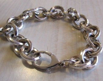 Large Link Heavy Sterling Silver Bracelet 8 1/2