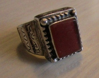 Sterling Silver and Carnelian Ring  Size 8